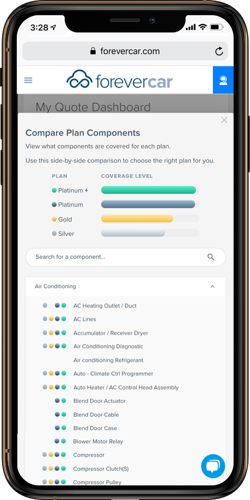 ForeverCar Compare Plans Screenshot