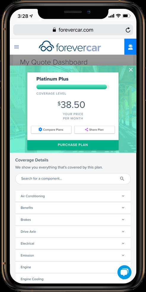 ForeverCar Single Plan Screenshot