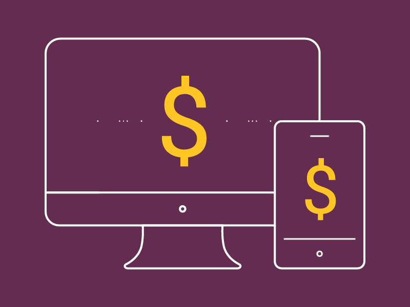 Desktop and mobile screens with dollar sign graphic
